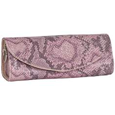 Mele & Co. Lorena Pink Faux Leather Travel Jewelry Roll