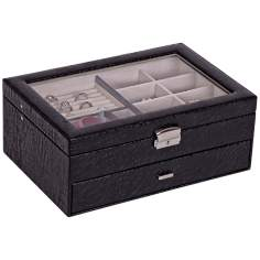 Mele & Co. Colette Black Croco Faux Leather Jewelry Box