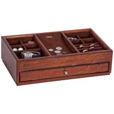 Mele & Co. Landon Antique Walnut Wood Top Valet