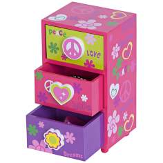 Mele & Co. Daisy Peace & Love Pink Jewelry Box