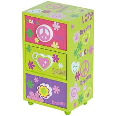 Mele & Co. Daisy Peace & Love Green Jewelry Box