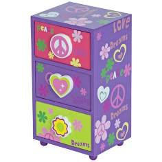 Mele & Co. Daisy Peace & Love Purple Jewelry Box