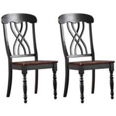 HomeBelle Set of 2 Black Farmhouse Dining Chairs