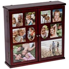 Mele & Co. Roxanne Walnut Hanging Photo Jewelry Chest