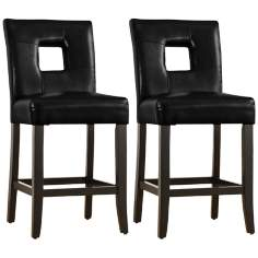 HomeBelle Set of 2 Black Keyhole Counter Chairs