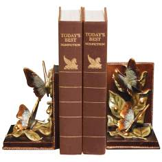 Set of 2 Butterflies Foraging Bookends