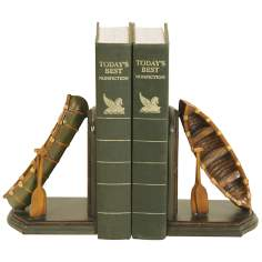 Set of 2 Camp Woebegone Brown and Green Canoe Bookends