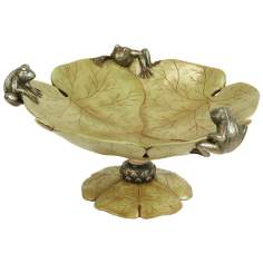 Large Green and Ivory Lily and Frog Bowl