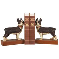 Brown and White Boston Terrier Bookends