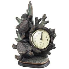 Swimming Turtles Brown and Green Table Clock