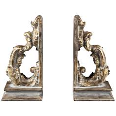 Set of 2 Florintine Scroll Gold Bookends