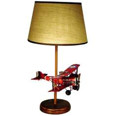 "Bi-Plane Themed 23 1/2"" High Table Lamp With Shade"