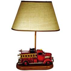 "Fire Engine Themed 21.75"" High Table Lamp With Shade"