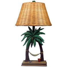 "Handpainted 27"" High Hammock Table Lamp With Shade"