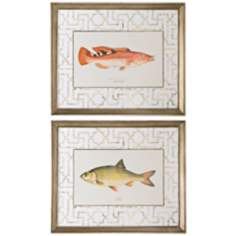 Wrass and Rudd Set of Two Framed Fish Prints