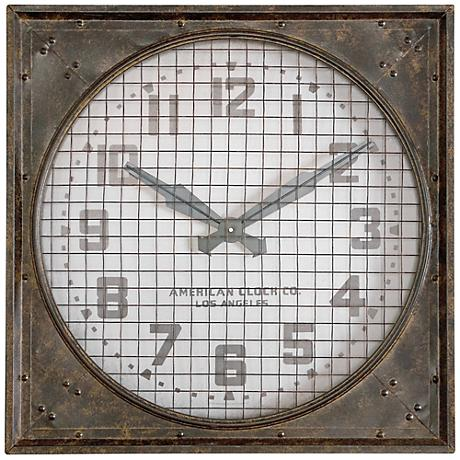"Uttermost 26"" Wide Warehouse Clock with Grill"