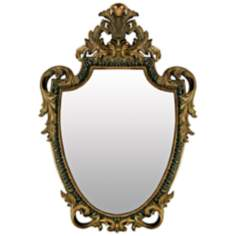 "Acanthis Shield 51"" High Gretna Gold Wall Mirror"