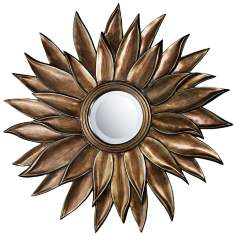 "Prentiss 40"" Round Flower Wall Mirror In Stonyford Finish"