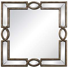 "Syracuse 33"" Wide Antique Gold Wall Mirror"