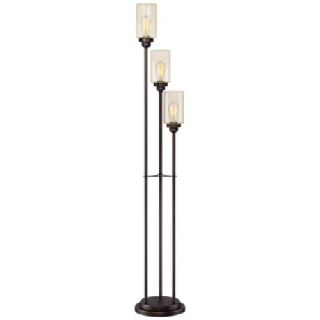 Libby oiled bronze 3 light seeded glass floor lamp for Floor lamp seeded glass