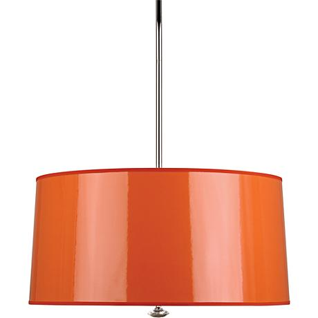 "Penelope 25 1/2""W Orange Shade Polished Nickel Pendant Light"