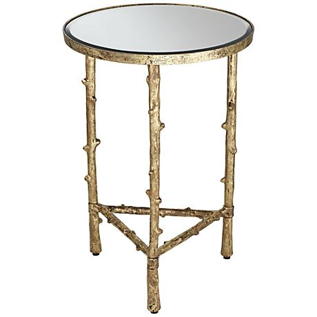 Delfina Round Gold Twig Accent Table