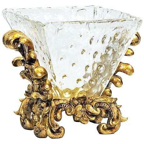 Fanciful Knob Gold and Glass Bowl