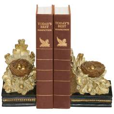 Set of 2 Oak and Acorn Gold and Brown Bookends