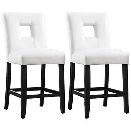 "HomeBelle 24"" White Keyhole Counter Stools Set of 2"