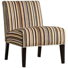HomeBelle Neutral Stripe Accent Chair
