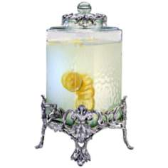 Arthur Court Fleur-de-Lis Rippled Glass Beverage Server
