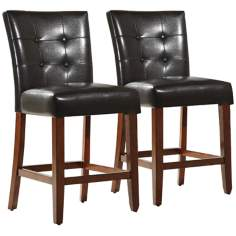 HomeBelle Set of 2 Tufted Back Counter Chairs