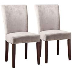 HomeBelle Set of 2 Grey Chenille Parson Chairs