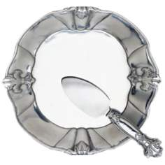 Arthur Court Fleur-de-Lis 2-Peice Cheese Plate Server Set