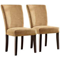 HomeBelle Set of 2 Camel Chenille Parson Chairs