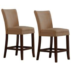 HomeBelle Set of 2 Peat Brown Counter Chairs