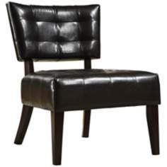 HomeBelle Brown Faux Leather Accent Chair