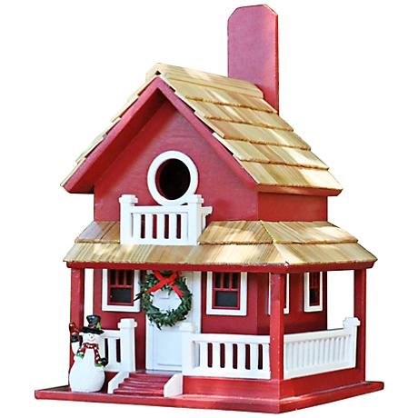 Christmas Red Cottage Birdhouse