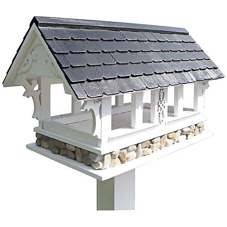 Covered Bridge Black Roof Birdfeeder