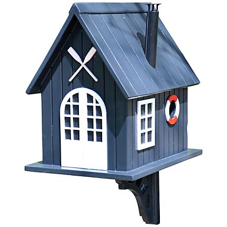 Blue Boat House Birdhouse