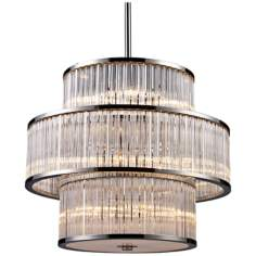 "Braxton 15-Light 24"" Wide Polished Nickel Pendant Light"