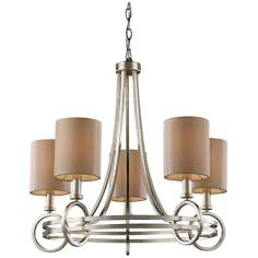 "New York 5-Light 24"" Wide Renaissance Silver Chandelier"