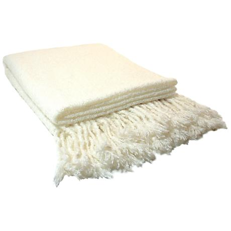 Loop Mohair Oyster White Throw Blanket