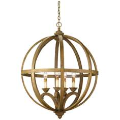 "Currey and Company Axel Orb 5-Light 32"" Wide Chandelier"