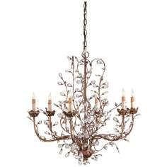 "Currey and Company 27"" Wide Crystal Chandelier"