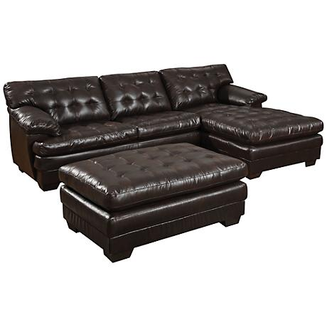Nigel Dark Brown Bonded Leather Match Sectional Sofa