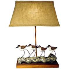 "Shorebirds 20 1/4"" High Table Lamp With Weave Cloth Shade"