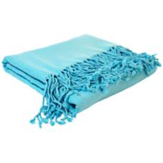 Bamboo Luxury Bright Aqua Blue Throw Blanket