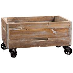 Uttermost Stratford Weathered Wood Rolling Box