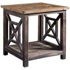 Uttermost Spiro Gray and Brushed Black End Table